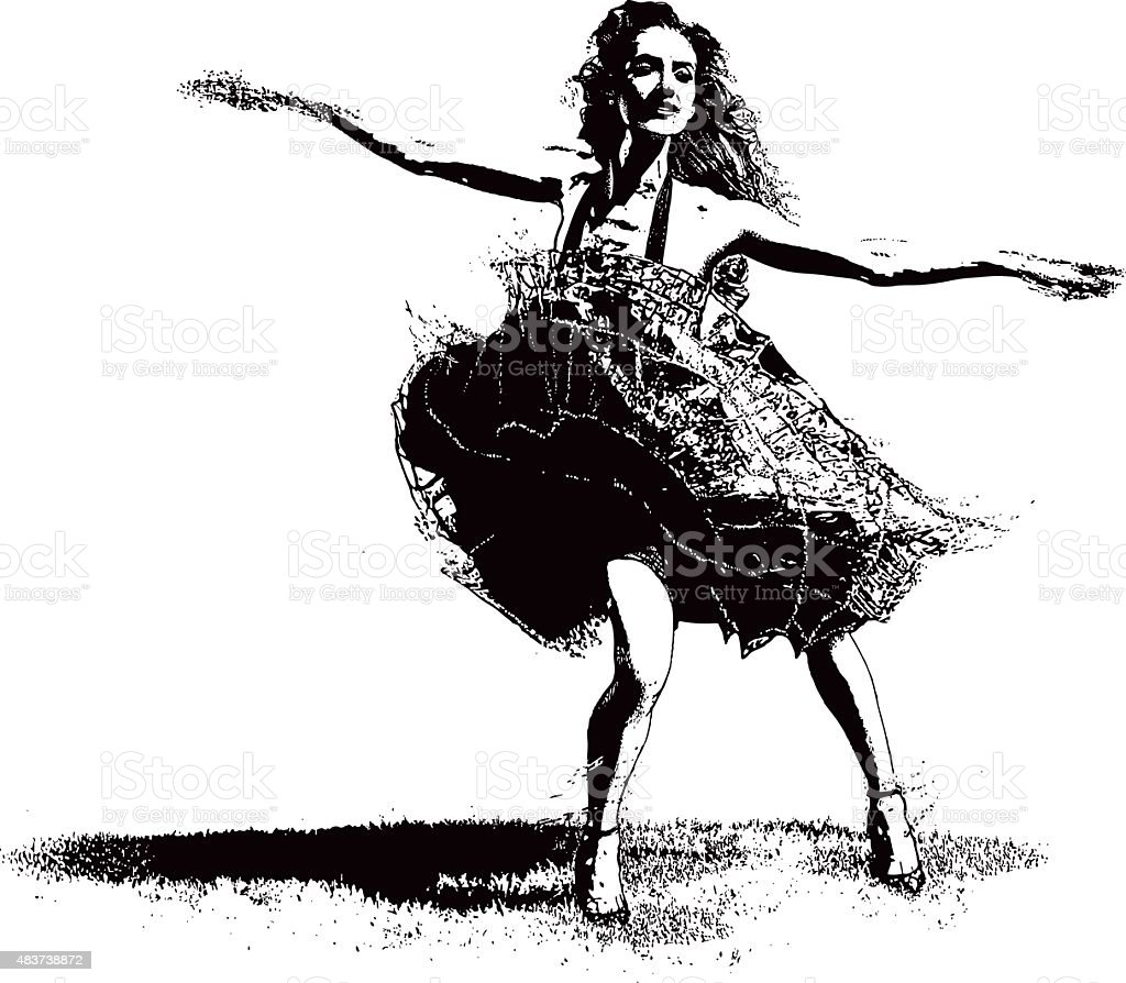 Vintage Woman Latin Dancing vector art illustration