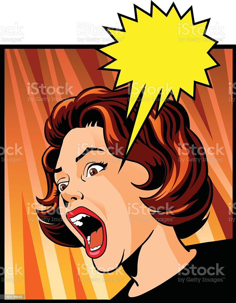 Vintage Woman Screaming with Excitement royalty-free stock vector art