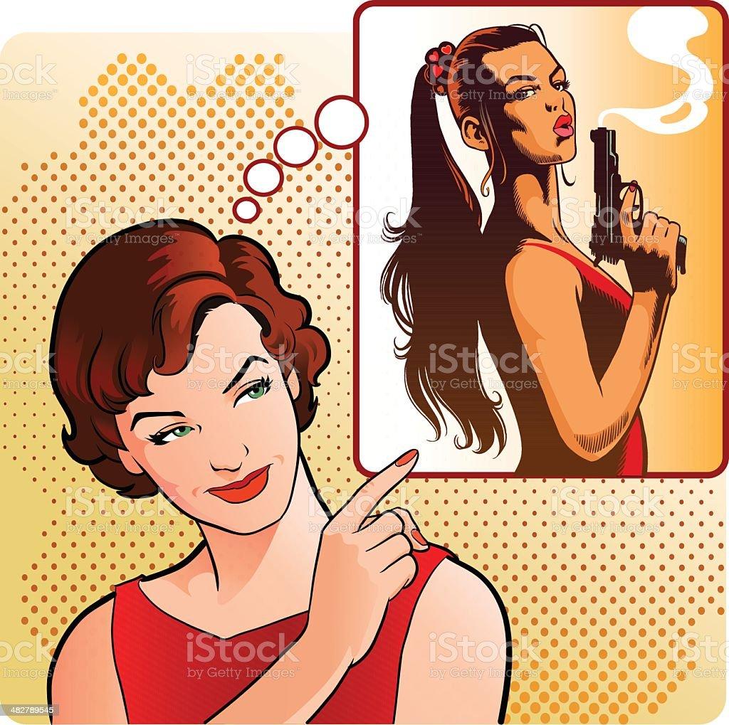 Vintage Woman Sending a Warning vector art illustration