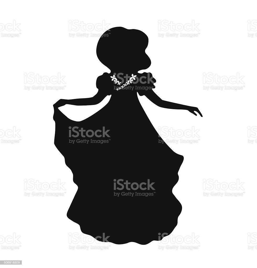Vintage woman silhouette.  Retro image of aristocratic woman vector art illustration