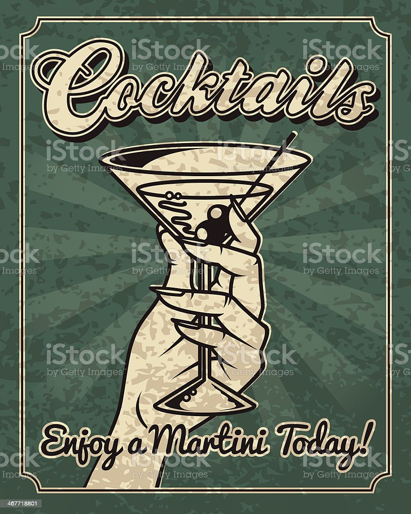Vintage Woman with a Martini royalty-free stock vector art