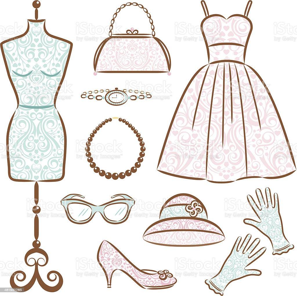 Vintage Women's Clothes Set vector art illustration