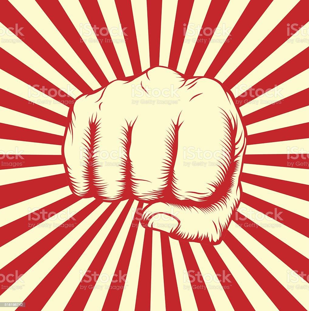 Vintage woodcut fist poster vector art illustration