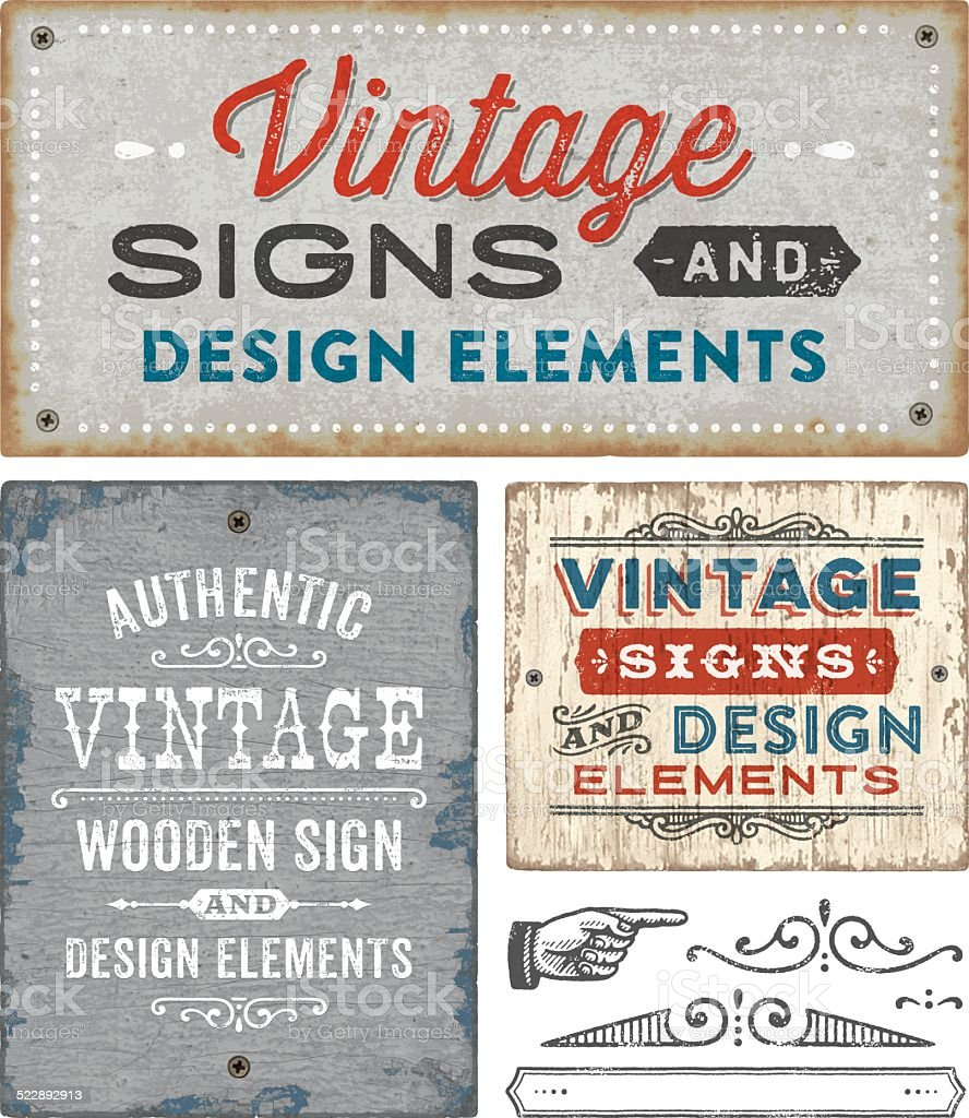 Vintage Wooden and Metal Signs vector art illustration