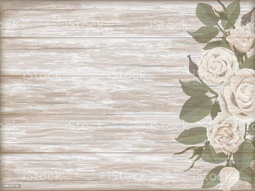 Vintage wooden background white rose bud vector art illustration