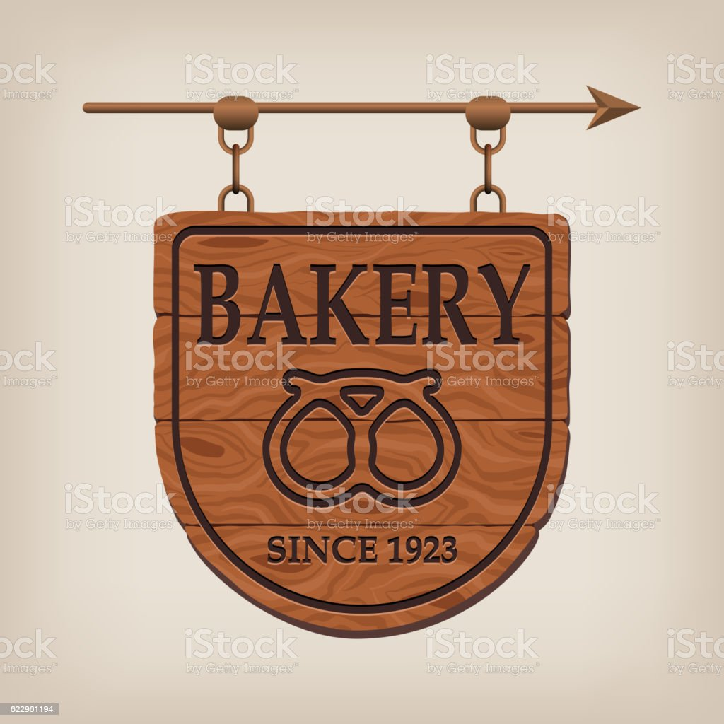 Vintage wooden bakery sign vector art illustration
