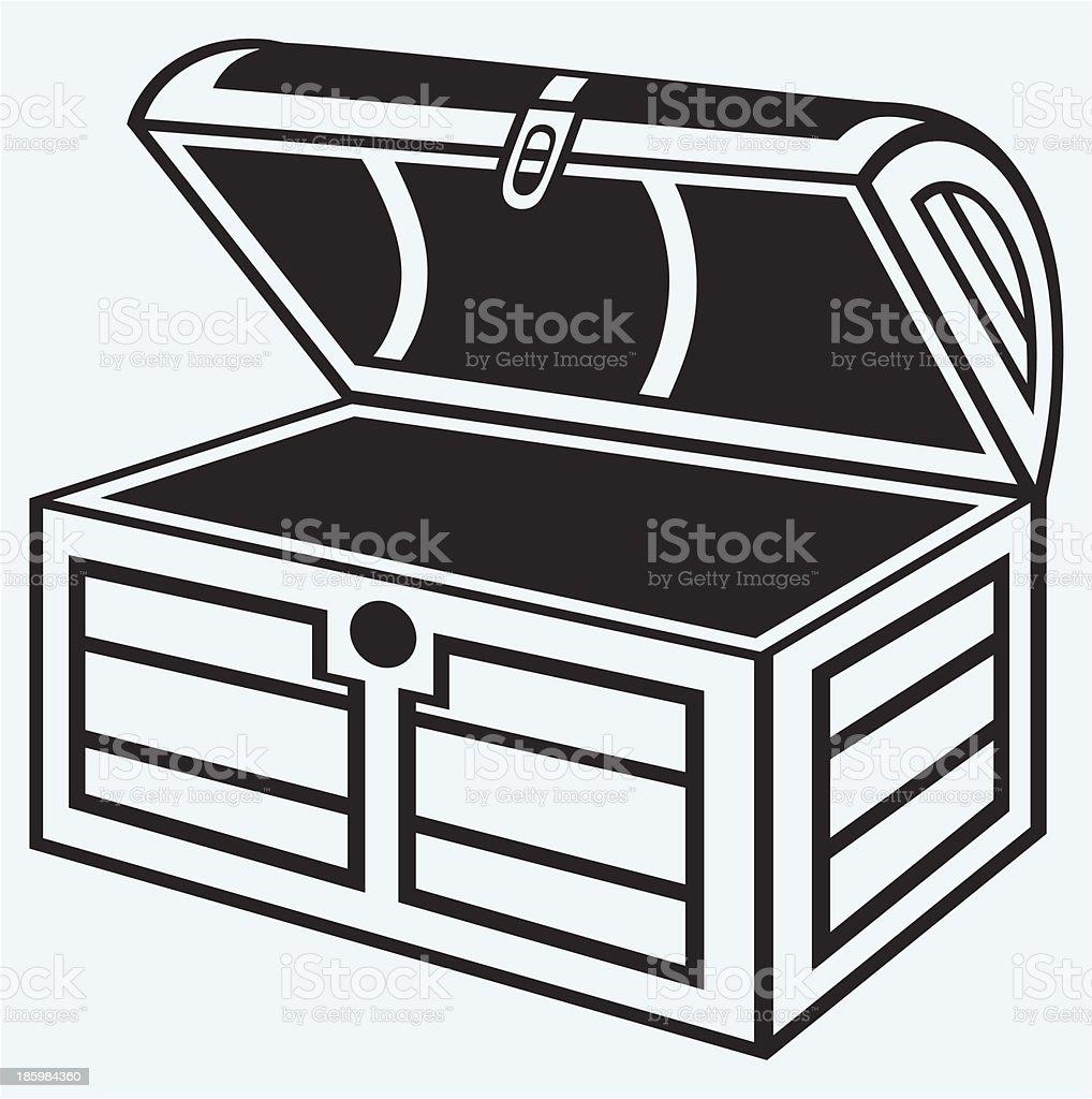 Vintage wooden chest vector art illustration