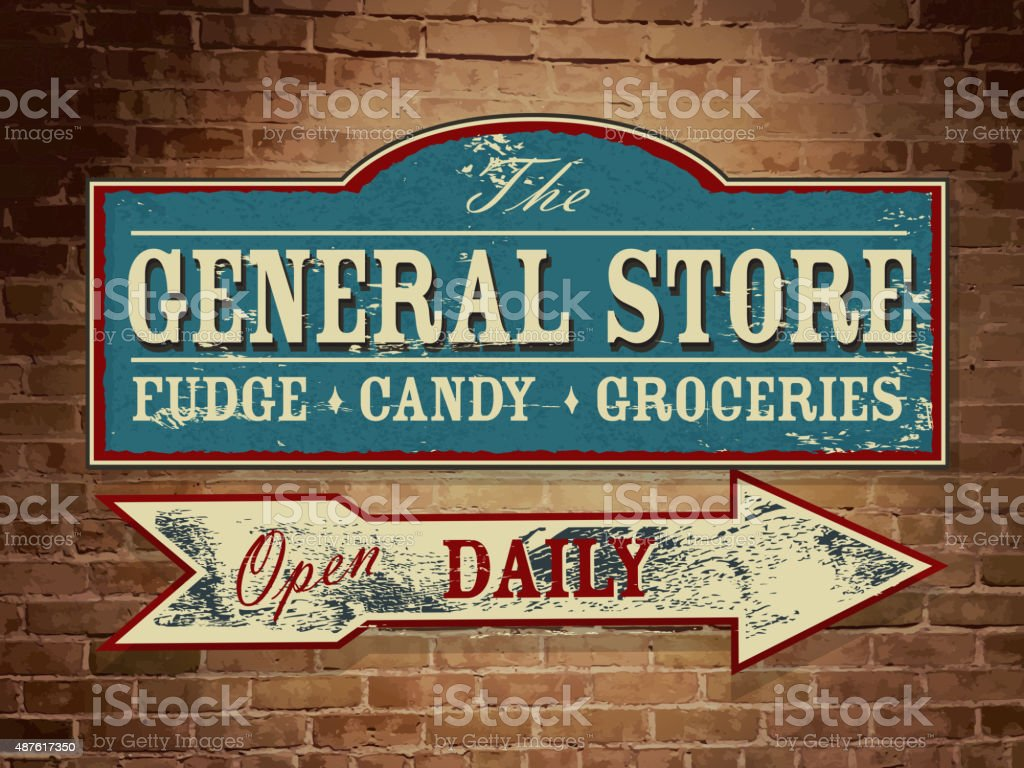 Vintage wooden General Store signage on yellow brick wall vector art illustration