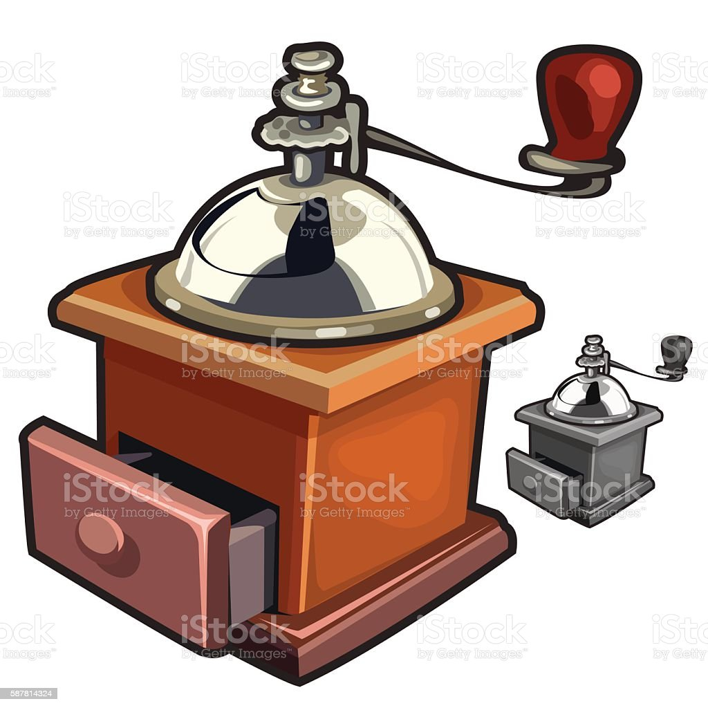 Vintage wooden manual coffee grinder handy vector art illustration