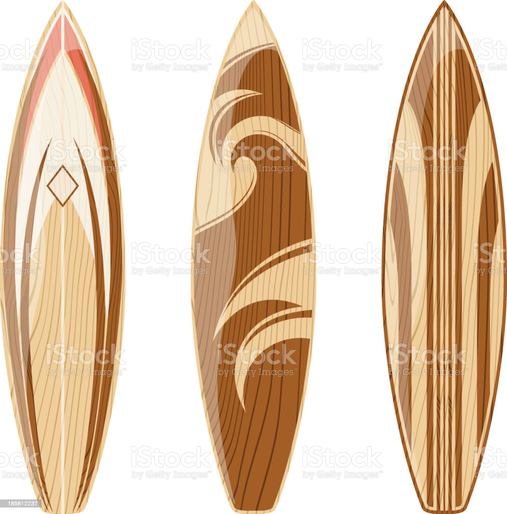 vintage wooden surfboards vector art illustration