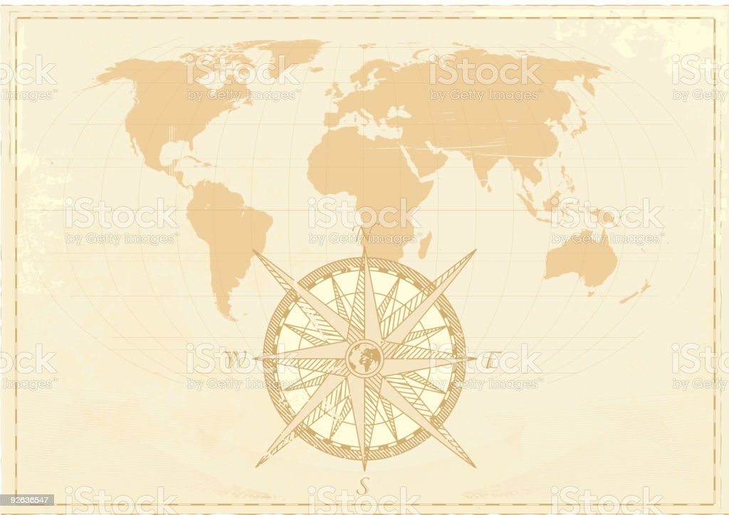 Vintage world map with compass royalty-free stock vector art