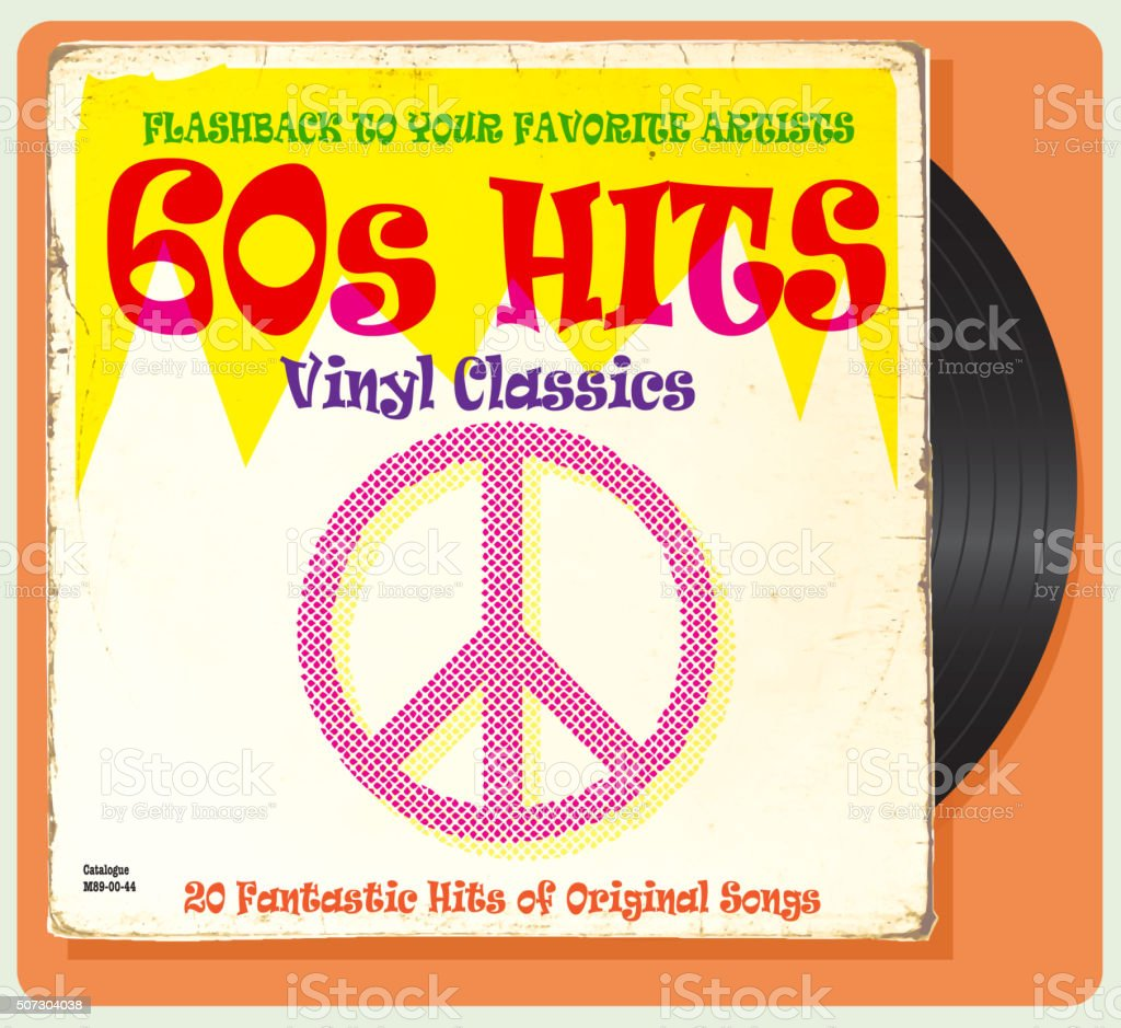 Vintage worn 60s vinyl compilation with peace sign vector art illustration