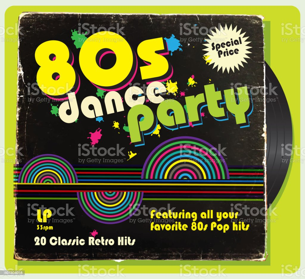 Vintage worn 80s vinyl compilation with retro design vector art illustration