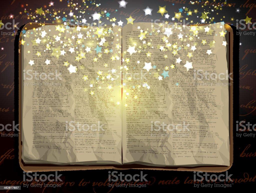Vintage worn open book design with stars vector art illustration