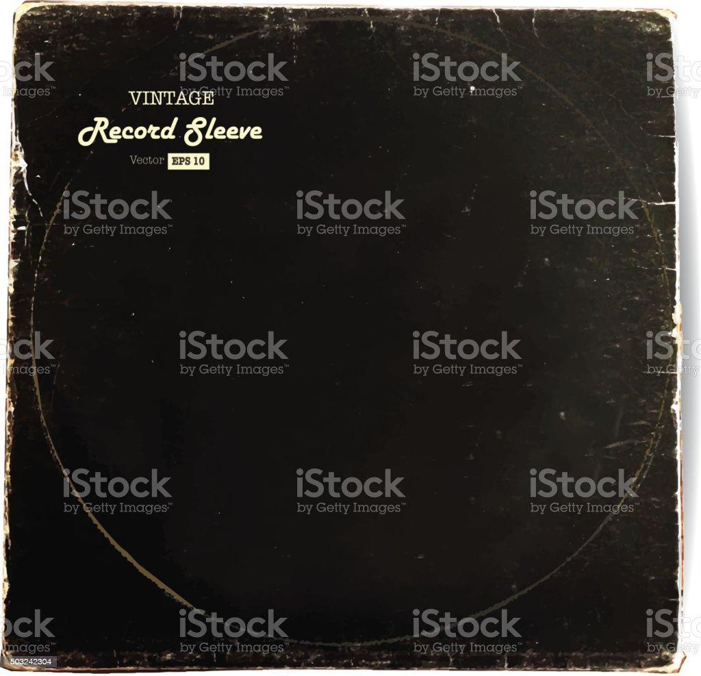Vintage worn Vinyl Record Sleeve blank in black vector art illustration