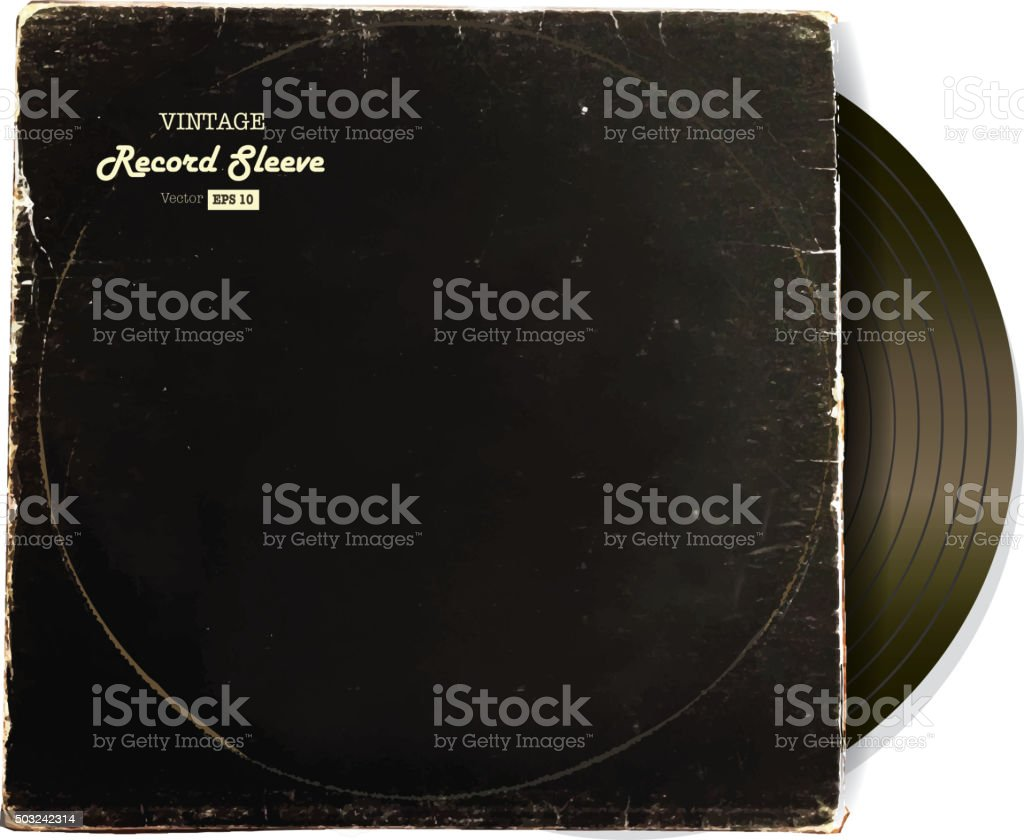 Vintage worn Vinyl Record Sleeve blank in black with record vector art illustration