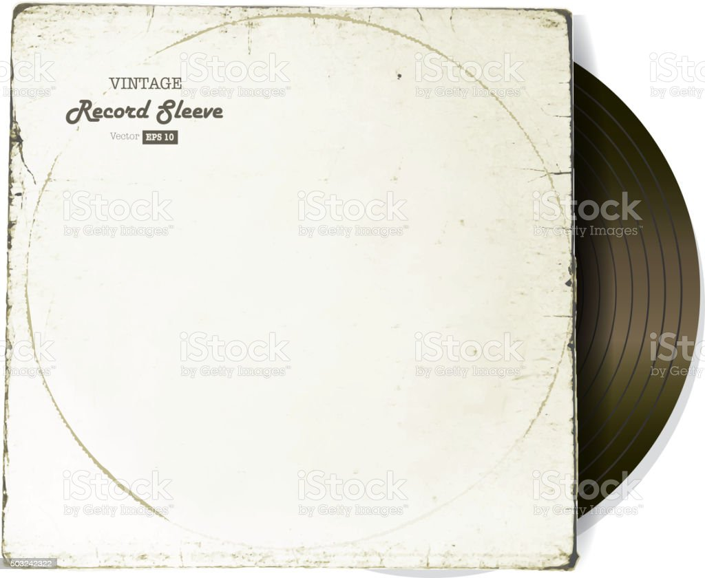 Vintage worn Vinyl Record Sleeve blank in white with record vector art illustration