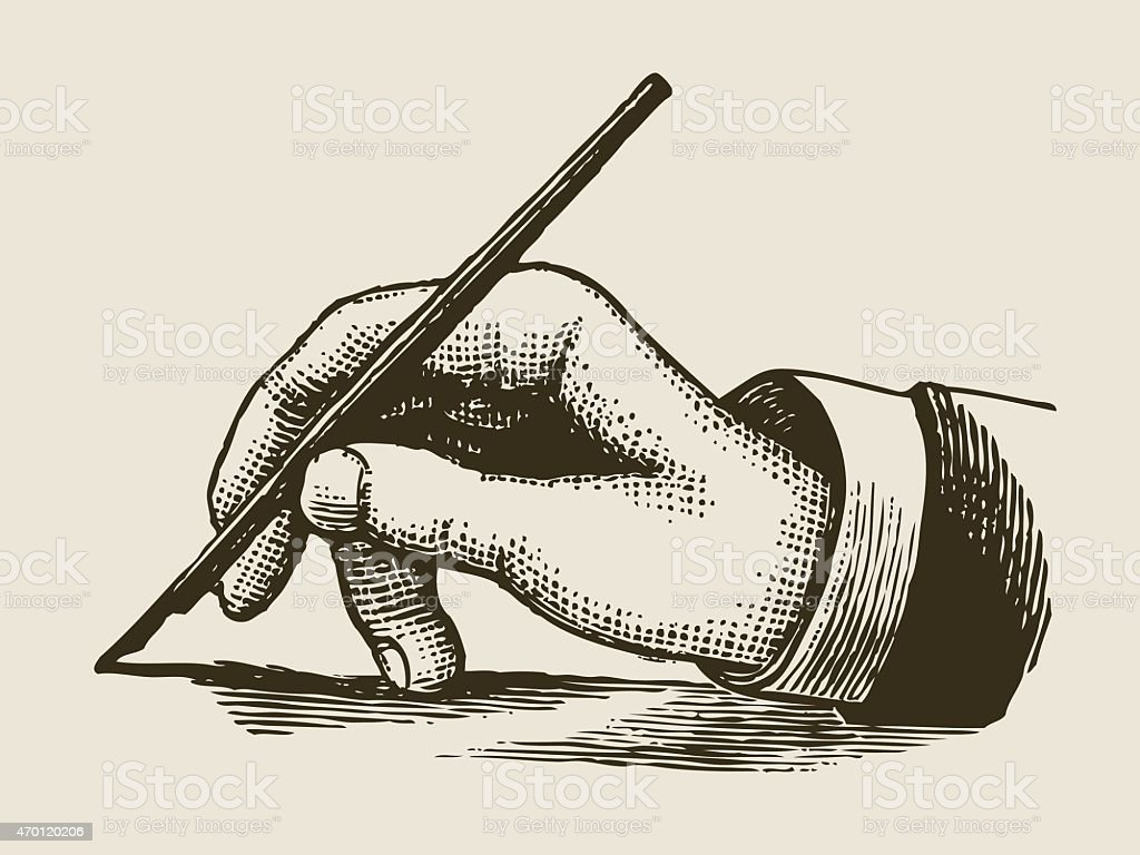 vintage writing hand engraved style vector art illustration