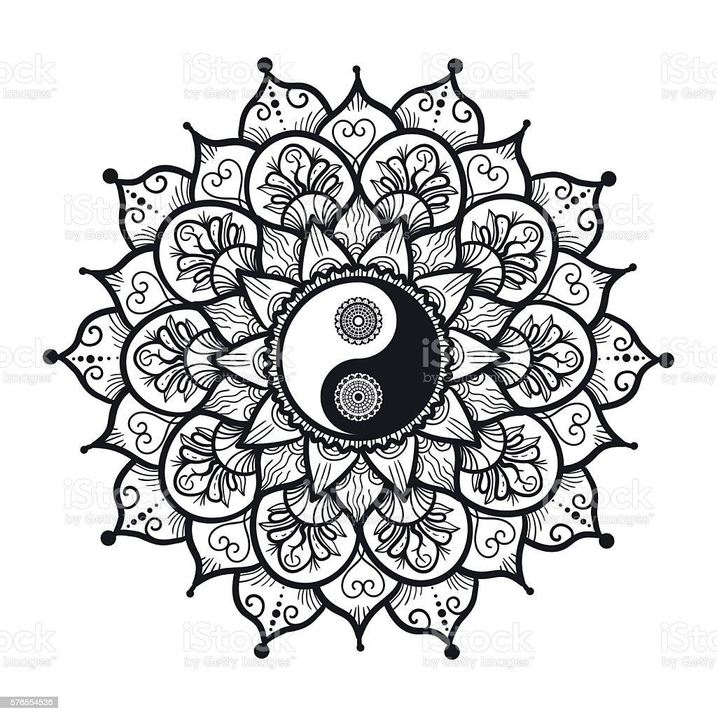 Vintage Yin and Yang in Mandala vector art illustration
