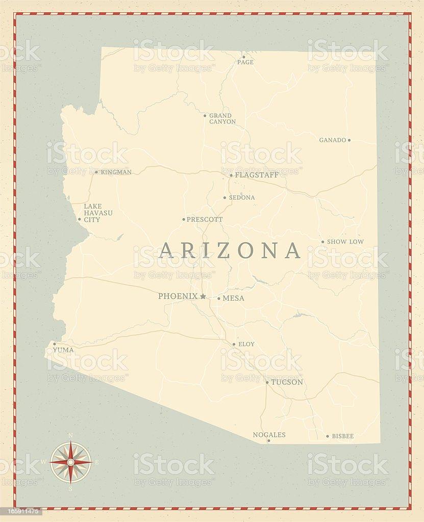 Vintage-Style Arizona Map vector art illustration
