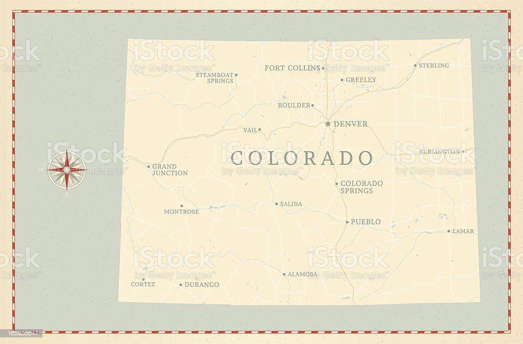 Vintage-Style Colorado Map vector art illustration