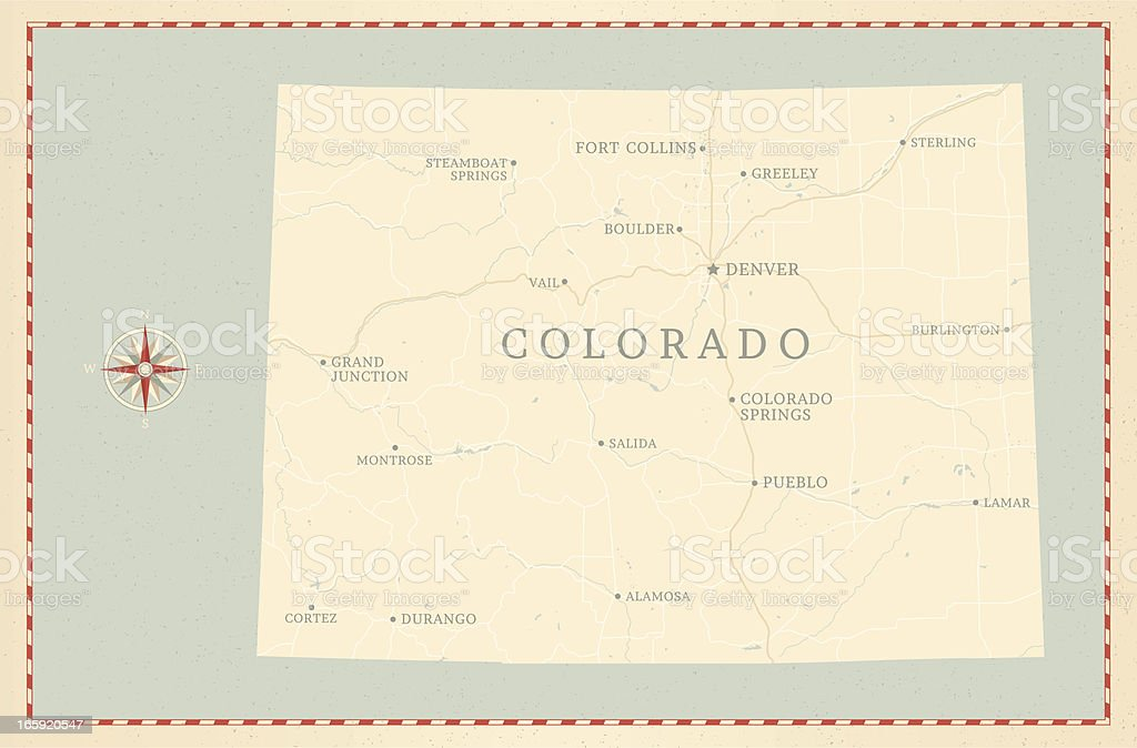 Vintage-Style Colorado Map vector art illustration