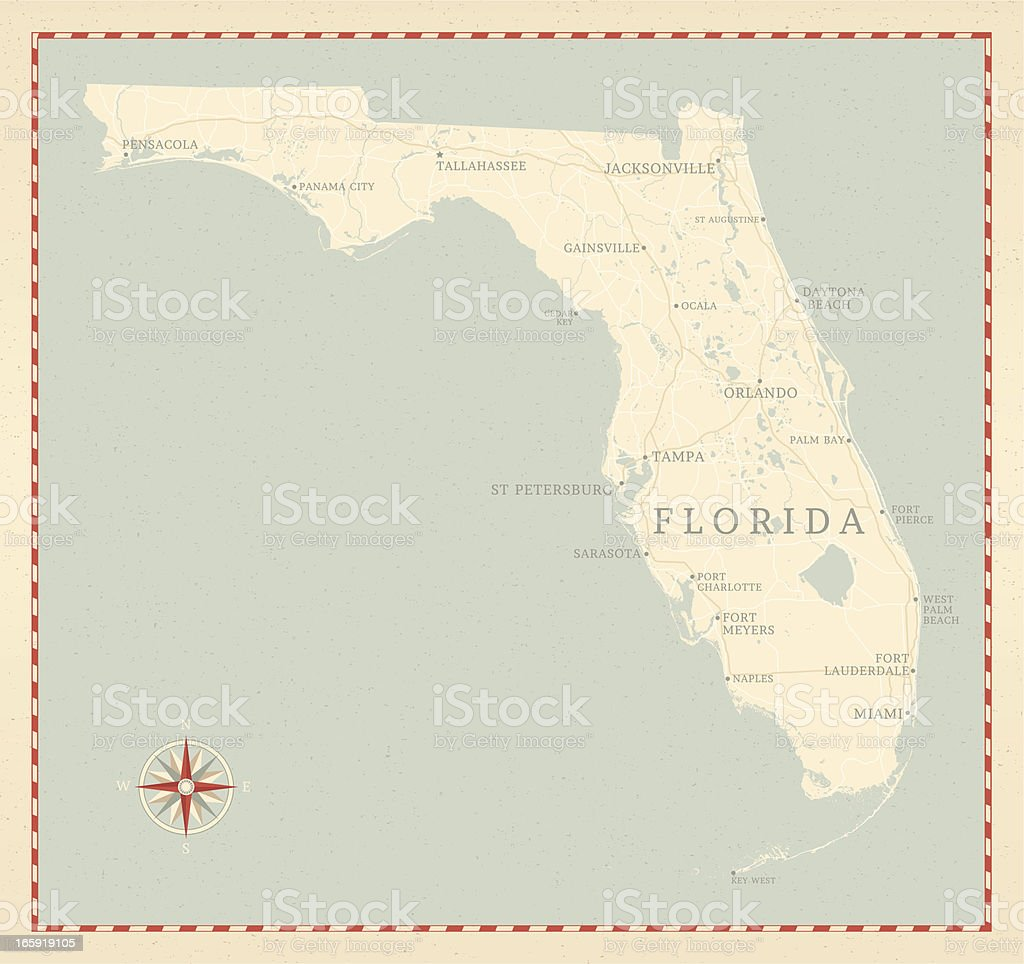 Vintage-Style Florida Map vector art illustration