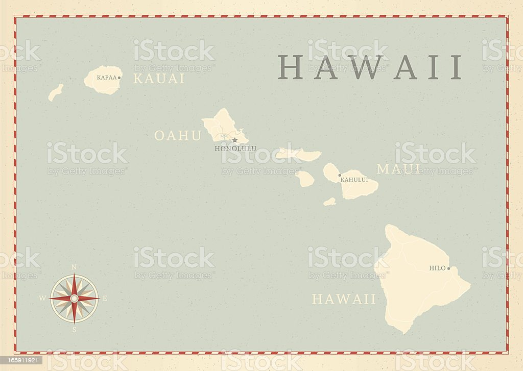 Vintage-Style Hawaii Map vector art illustration