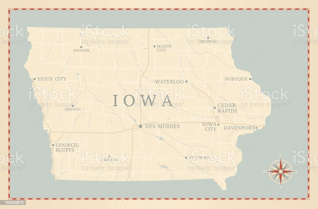 Vintage-Style Iowa Map royalty-free stock vector art
