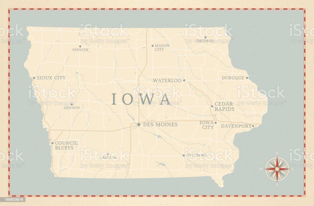 Vintage-Style Iowa Map vector art illustration