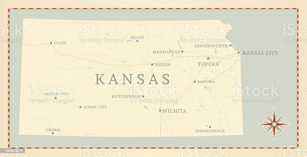 Vintage-Style Kansas Map vector art illustration