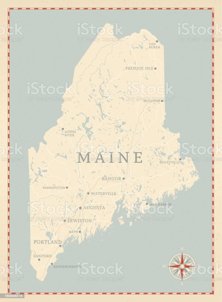 Vintage-Style Maine Map vector art illustration
