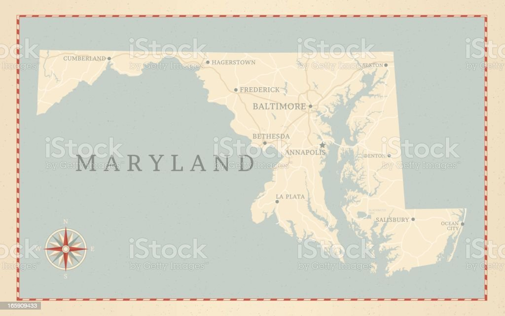 Vintage-Style Maryland Map royalty-free stock vector art