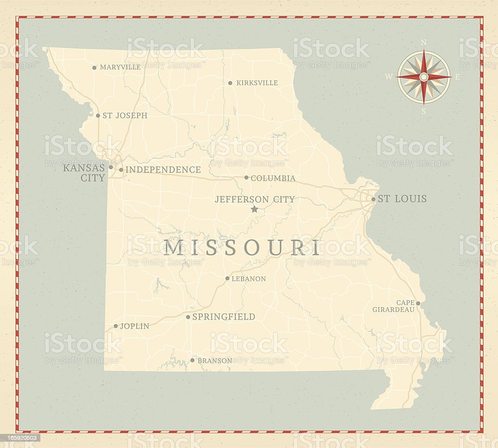 Vintage-Style Missouri Map royalty-free stock vector art