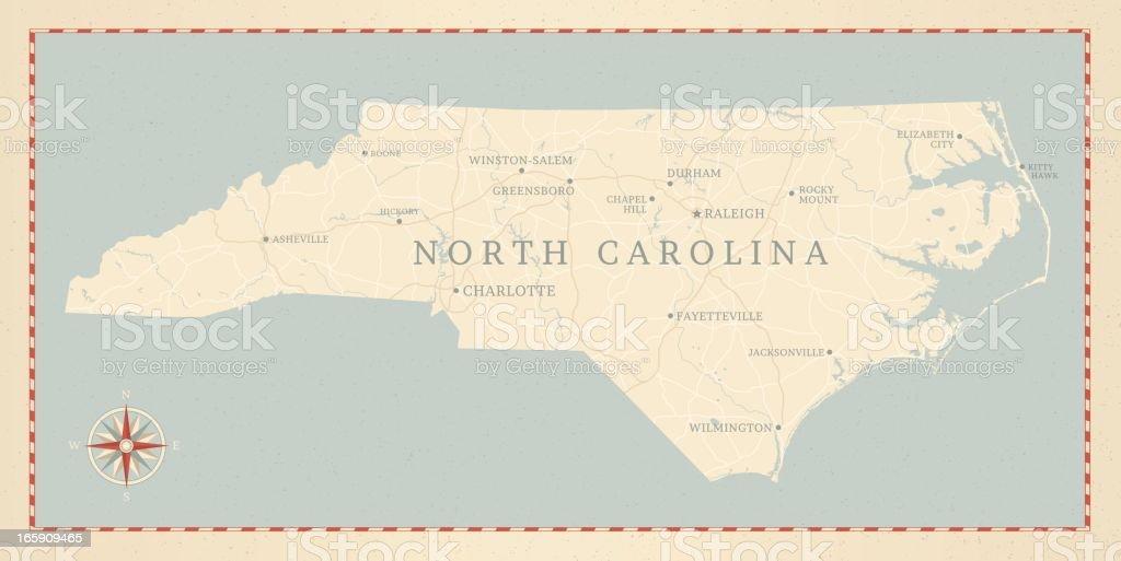 Vintage-Style North Carolina Map vector art illustration