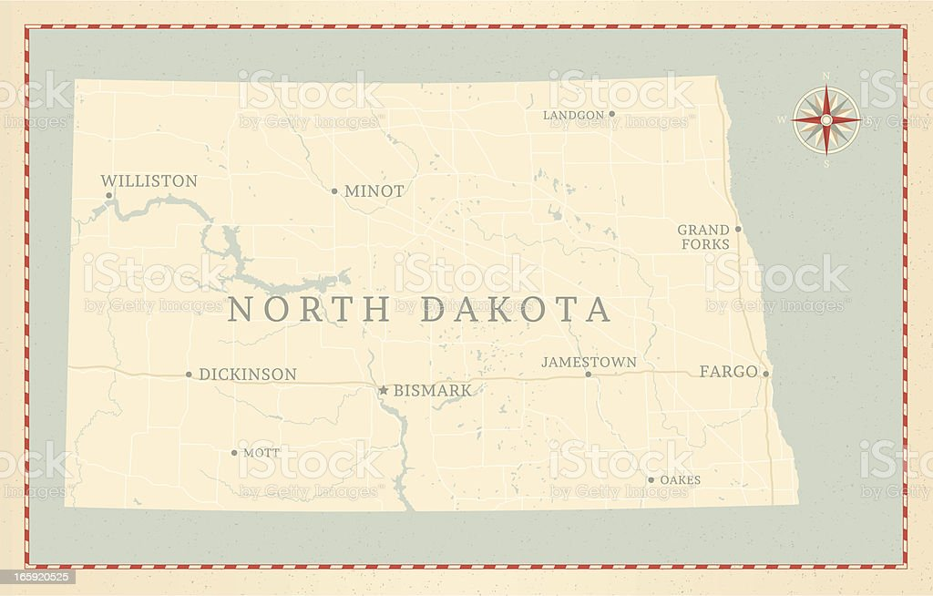 Vintage-Style North Dakota Map royalty-free stock vector art