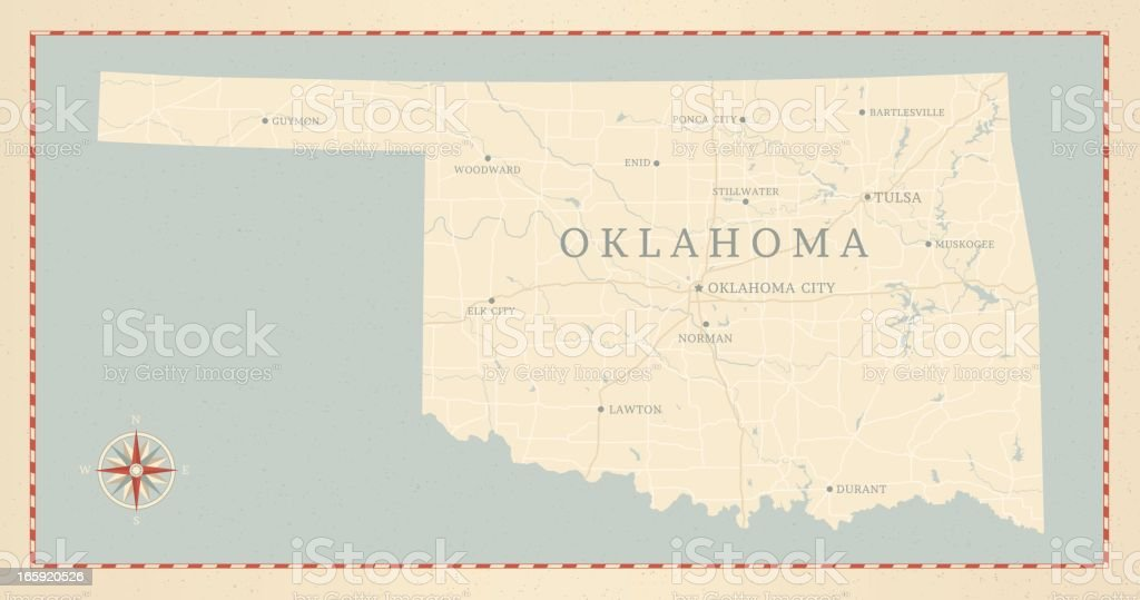 Vintage-Style Oklahoma Map vector art illustration
