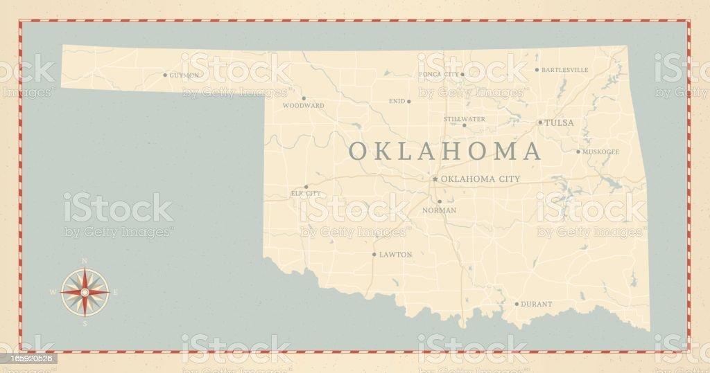Vintage-Style Oklahoma Map vector art illustration