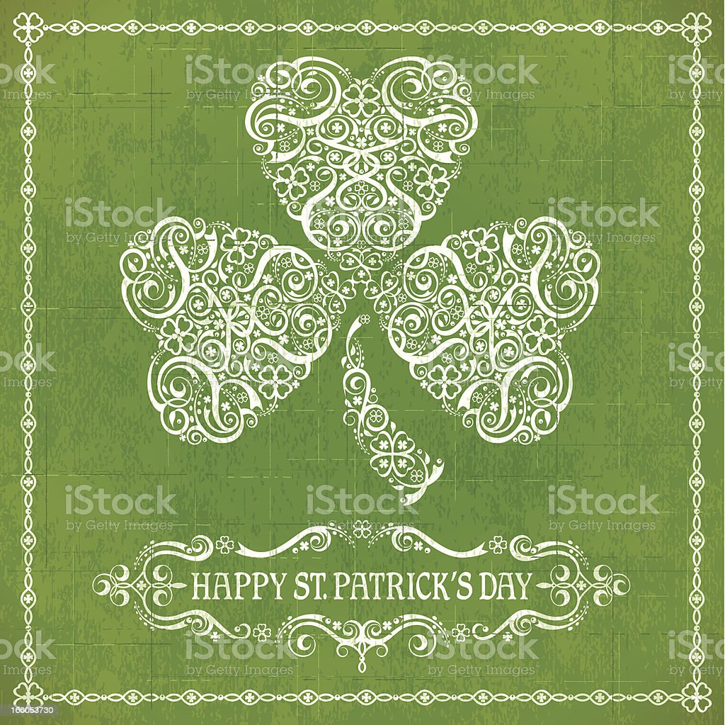 Vintage-style St. Patrick's Day card in green and white royalty-free stock vector art