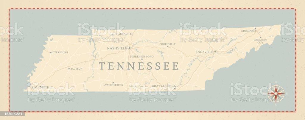 Vintage-Style Tennessee Map vector art illustration
