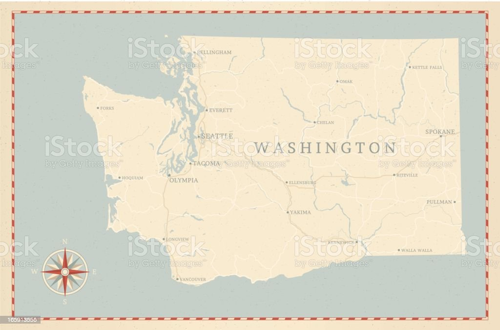 Vintage-Style Washington State Map vector art illustration