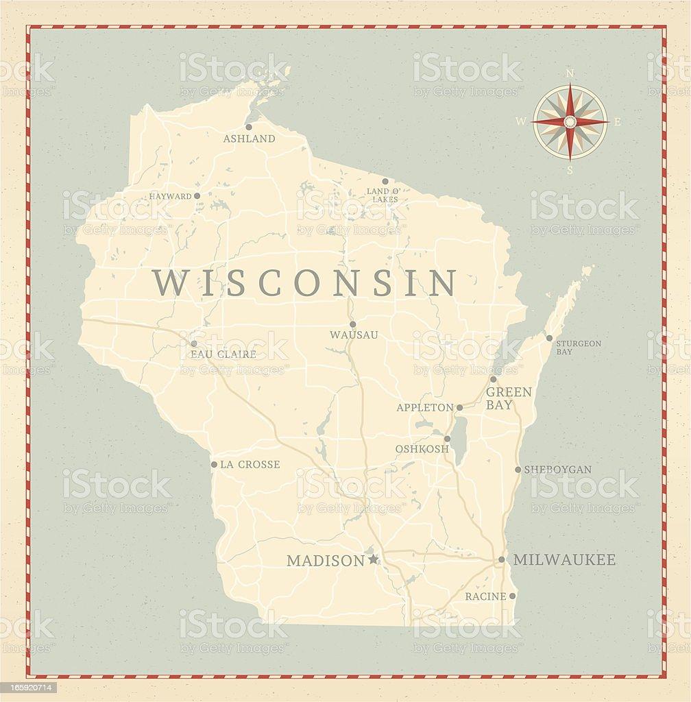 Vintage-Style Wisconsin Map vector art illustration