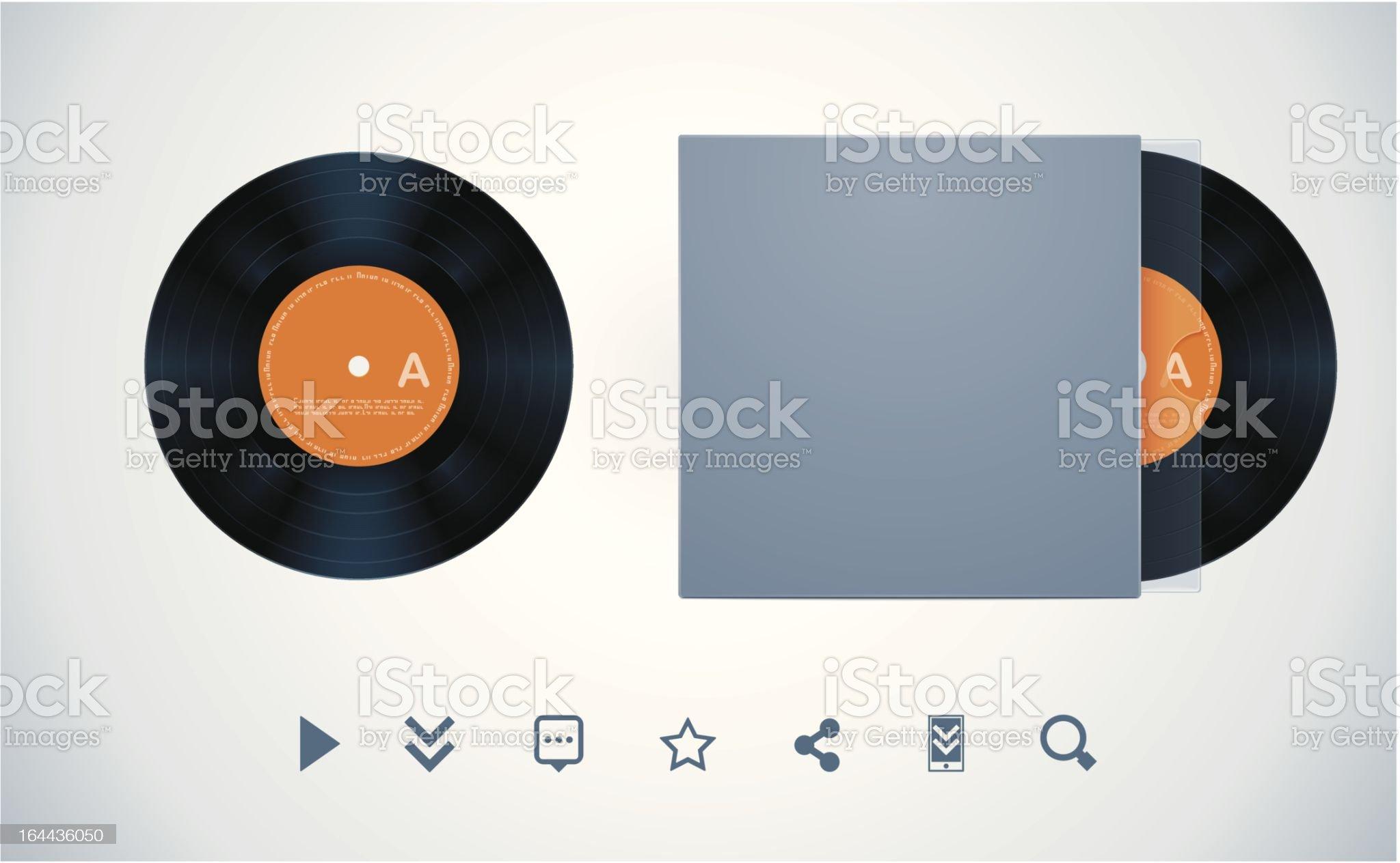 Vinyl disk and envelope royalty-free stock vector art