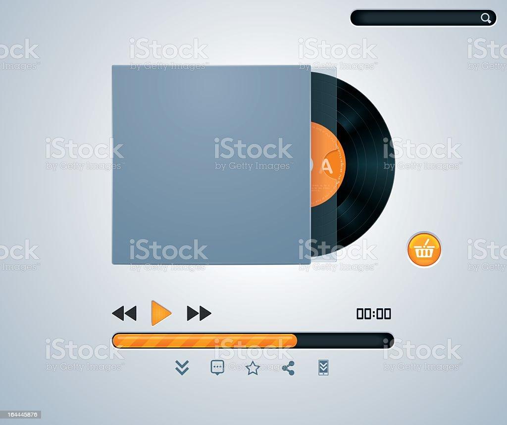 Vinyl disk in envelope music player royalty-free stock vector art