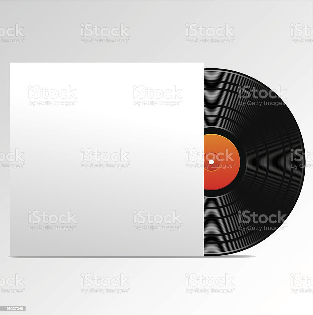 Vinyl disk with blank cover vector art illustration