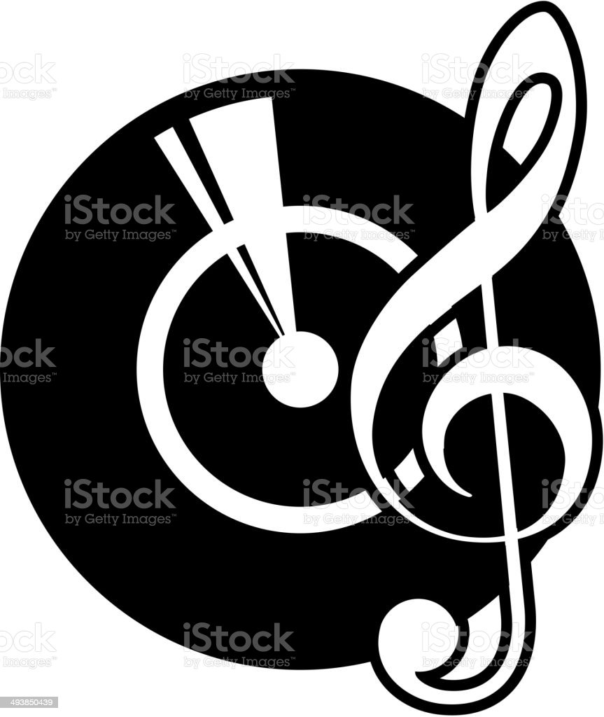 Vinyl record and a musical clef vector art illustration