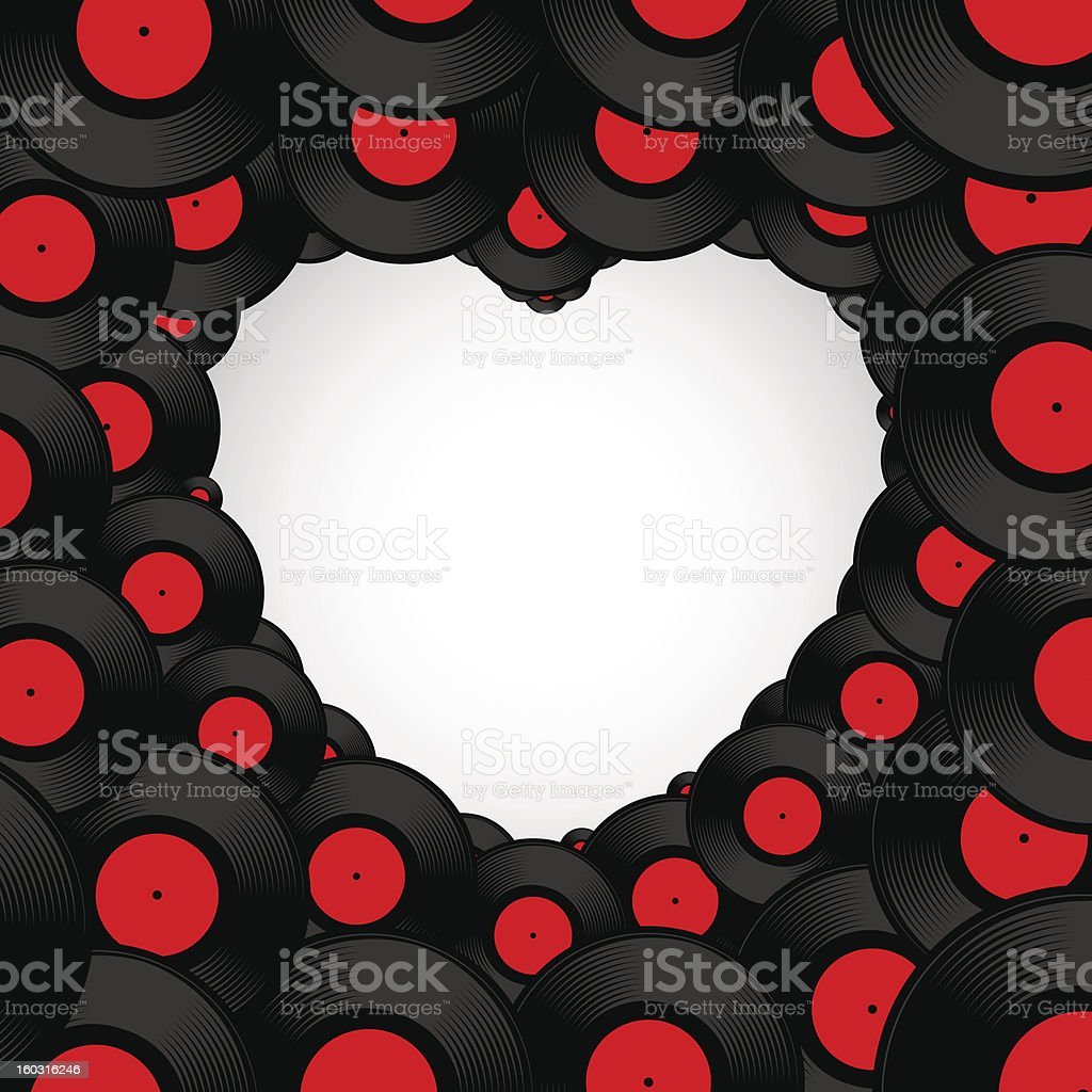 Vinyl record background in shape of heart royalty-free stock vector art