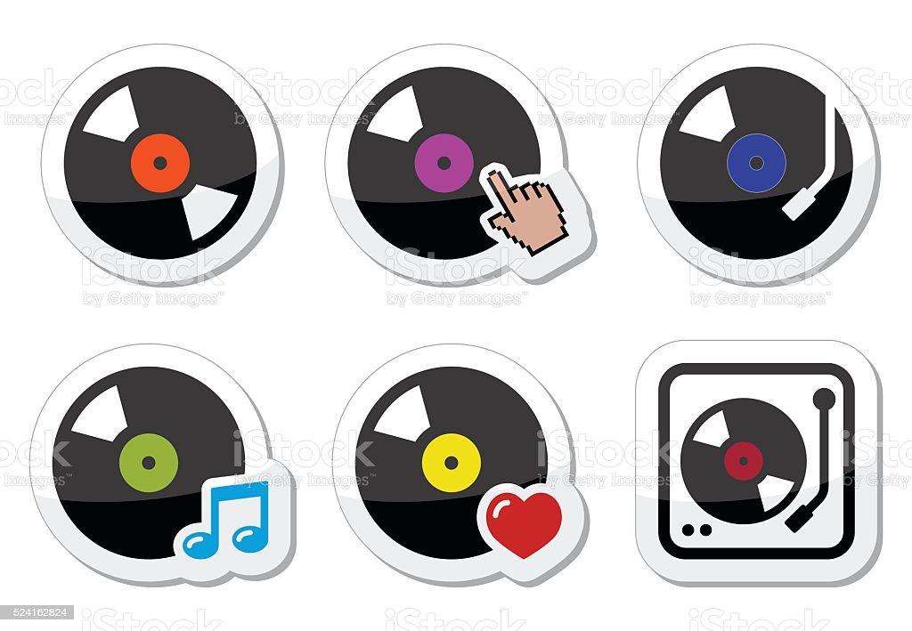 Vinyl record, DJ vector icons set vector art illustration