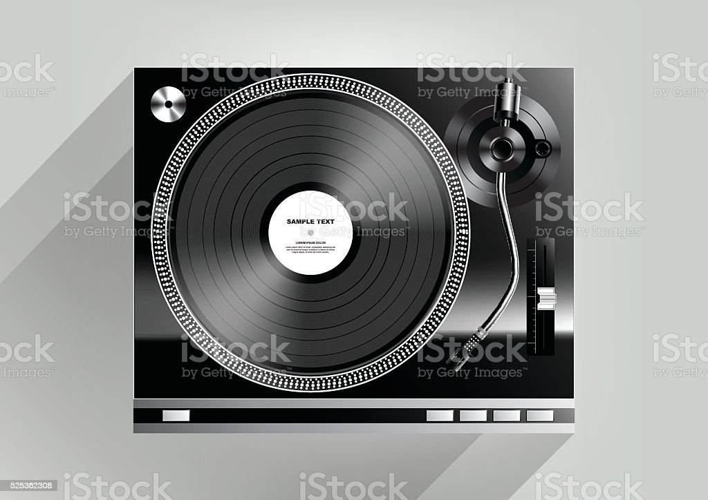 Vinyl record player on grey background long shadow, Vector vector art illustration
