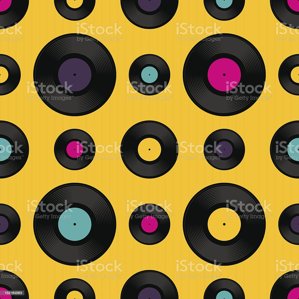 Vinyl record seamless background pattern royalty-free stock vector art